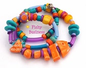 FISHY BUSINESS, Whimsical Necklace Earrings set, Short, Layering, Australian Made