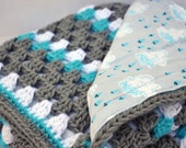 Cloudy days crochet baby blanket, granny square reversible crochet baby blanket