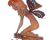 Garden Fairy on Leaf - Rusty Metal Garden Art Recycled Steel