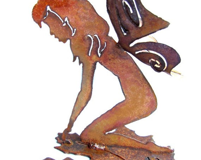 Garden Fairy on Leaf - Rusty Metal Garden Art Recycled Steel