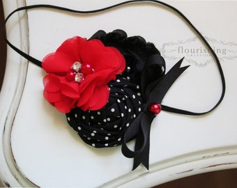 Red and Black flower headband, baby headbands, newborn headbands, red headbands, photography prop, black headbands