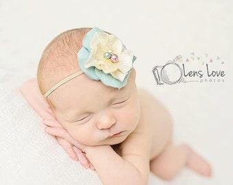 Cream flower headband, baby headbands, dusty teal headbands, newborn headbands, photography prop