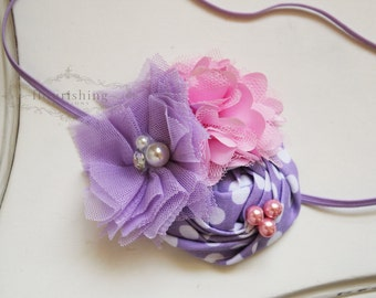 Lavender and Pink flower headbands, spring headbands, newborn headbands, photography prop