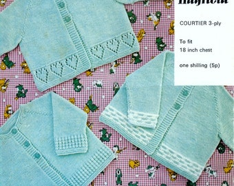 Baby Matinee Jackets 3 styles in 34ply  for sizes 18   ins -  PDF of Vintage Knitting Patterns