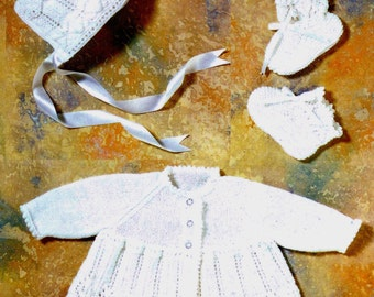 Baby Matinee Jacket Bonnet and Bootees 4 ply and DK 8 ply yarns &  sizes 14 - 18 ins - pdf of Vintage Knitting Patterns