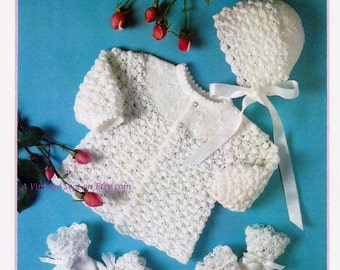 Baby 3ply Matinee Bonnet, Mittens and Bootees 16 - 20 ins - Argyll 106 - Vintage PDF Knitting Pattern