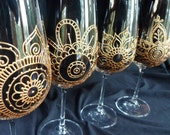 Reserve listing for Sister Carol Frances. CUSTOM order glassware Hand painted Henna style designs.PERSONALIZED.set of 4 wine, 4 champagne