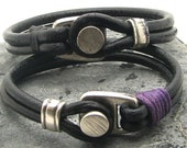 FREE SHIPPING Couple bracelet Unisex leather bracelet. Black  leather multi strand bracelet with  silver plated spacer and clasp