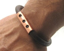 EXPRESS SHIPPING Men's leather bracelet Brown leather bracelet men's bracelet copper bracelet for mens with antique clasp