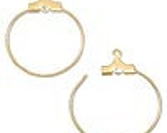 Earring beading hoop, Gold plated, 20mm round with loop.  4 per pack