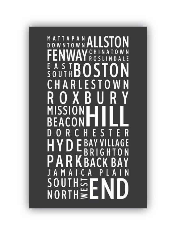 BOSTON Neighborhoods - Typography poster print