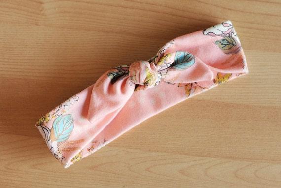 The Isla - Pink floral print head wrap