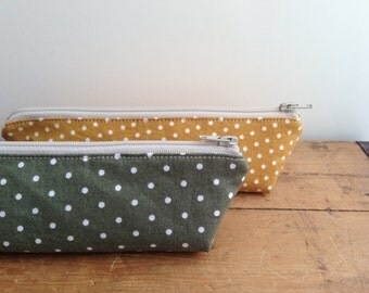 Olive Green with Dots Pencil Case, Zipper Pencil Pouch, Back to School, Cosmetic Bag, Triangle zipper pouch, Cute Makeup bag