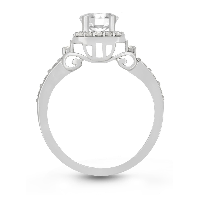 cinderella princess carriage ring 14kt white gold
