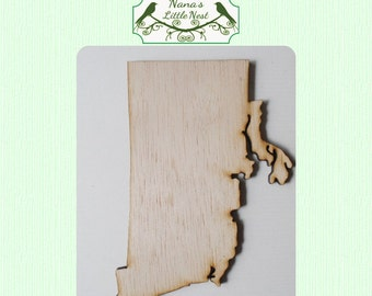 Rhode Island State Wood Cut Out - Laser Cut