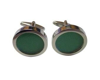Textured Dark Green Colored Classic Cufflinks