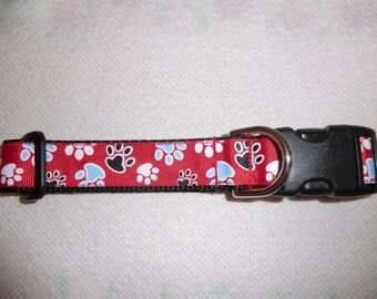 Dog Collar Red paw prints Dog Collar