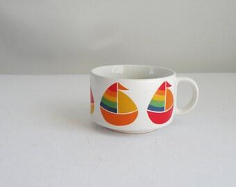 Rainbow Sail Boats Large Vintage Soup or Coffee Mug