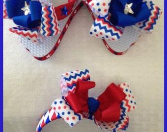 4th of July Flip Flops and Headband Set