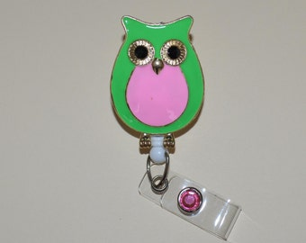 Pink and Green Owl Pendant Badge Reel Cover