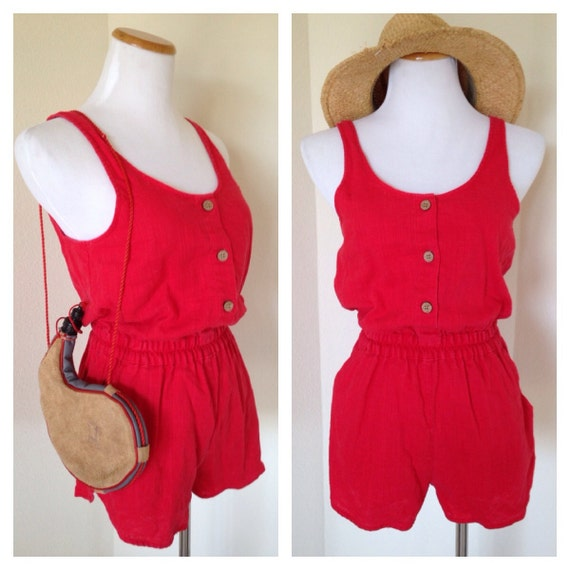 Vintage Short Red Jumpsuit Short Red Romper Sleeveless Red