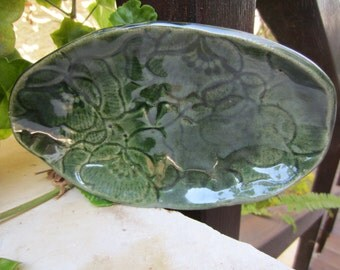 Oval Flower Pattern Green Ceramic Bowl