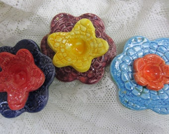 3 Colorful Ceramic Flowers