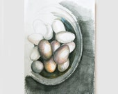 Eggs-Original figurative art drawing-A4 -Black white, brown, sepia, blue,modern, kitchen decor,for home, geometric, figurative drawing