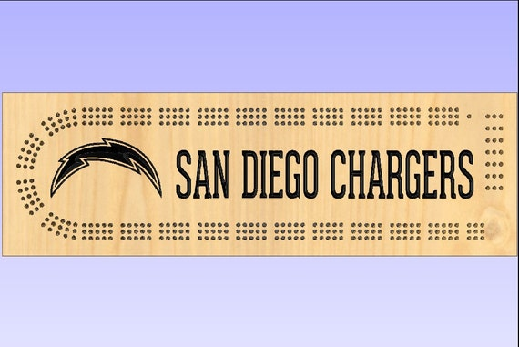 Rustic Cribbage Board San Diego Chargers Football