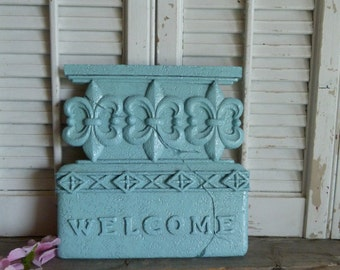 Fleur De Lis Welcome Sign, Cottage Chic Aqua Blue Welcome Sign, Door Decor, Apartment Decor, Parisian Chic