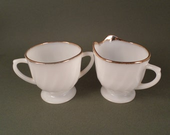 Vintage White Glass Cream and Sugar Set,  with Gold Trim, Fire King, Footed Cream and Sugar, Midcentury Dining Table