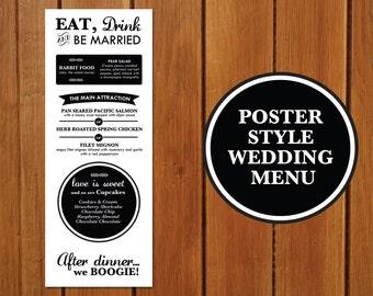 Poster Style Wedding Menu