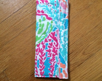 Seat Belt cover made with Lilly Pulitzer fabric