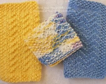 Dish Cloth, Wash Cloths, Spa Cloths  - Hand Knit Chevron Design Set of 3 - Cotton Cloths for Country Kitchen or Bath - Cornflower & Yellow
