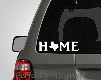 Texas Home State with State in Text Vinyl Decal