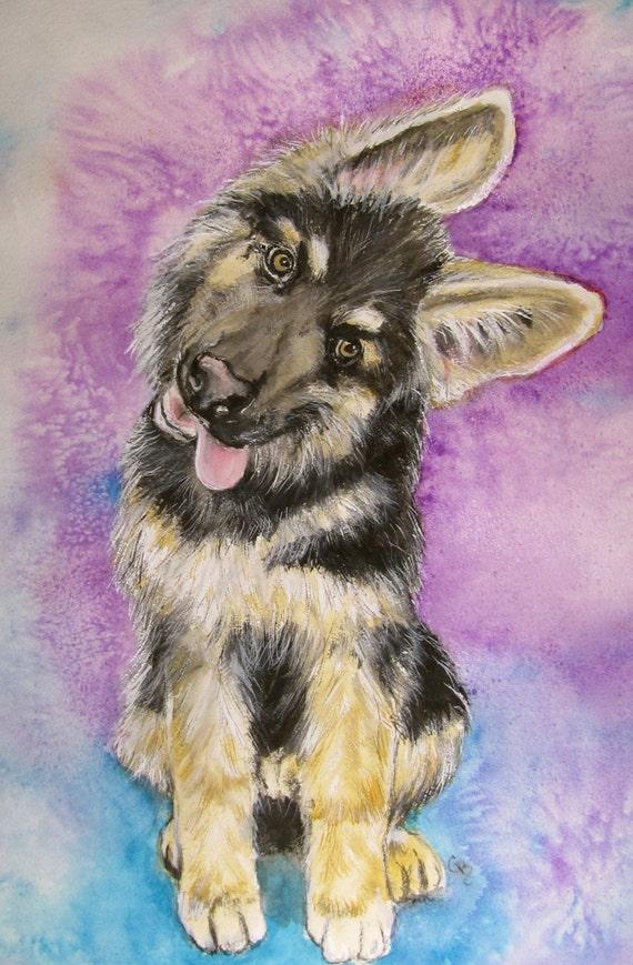 The Guardian German Shepherd Original Watercolor by ...
