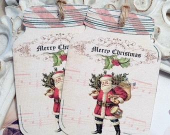 Merry Christmas Mason Jar Gift Tag (6) Christmas Tag-Shabby Gift Tag-Holiday Tag-Jar Label-Santa Gift Tags-Treat Tags-Shabby Mason Jar Tag