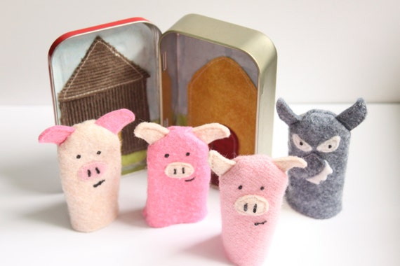 Wool Felt Finger Puppets in their own Travel Tin Puppet Stage The Three Little Pigs in an upcycled Altoids Tin
