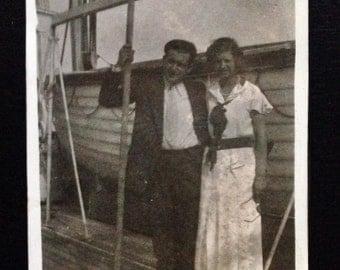 Original Antique Photograph Showing Her the Boats