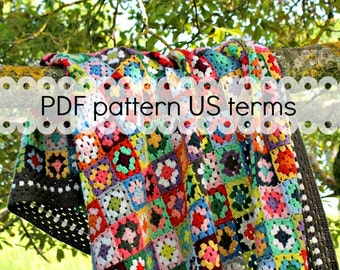 Crochet pattern - Gypsy granny square crochet blanket - US & UK version, granny square crochet afghan