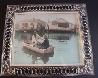 1950s Photo Beautiful Couple Rowboat Special Vintage Frame