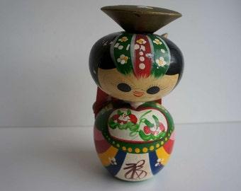 Vintage Kokeshi Japanese Wooden Doll Large