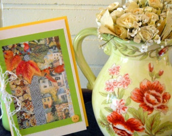 Greeting Cards, Old World Charm Cards, Set of 4 cards, Italian Memories, Fabric Art Prints, Applique Print Cards, Kathleen Leasure