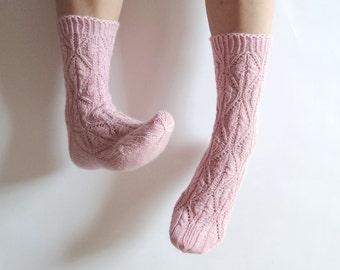 Pale dusty powder pink wool socks. Blush pink gift for her. Lace socks. Pastel light pink. Hand knit socks. Bed socks. House socks. Boudoir.