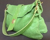 One-off, handcrafted handstitched apple green Italian lambskin 2-piece leather shoulder bag