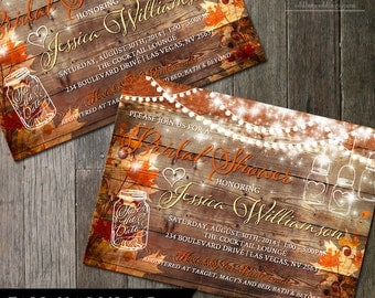 Rustic Fall Bridal Shower Invitation - Rustic Wedding Shower -Autumn Wedding - Bridal Invite - DIY Mason Jar Invitation | Digital Printable