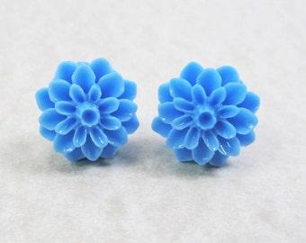 Post Stud Earrings - 15mm Azure Blue Resin Dahlia Flowers - Surgical Steel Posts (G-14)
