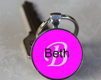 Beth Name Monogram Handcrafted Glass Dome Keychain (GDNKC0325)