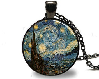 Starry Night Pendant, Starry Night Necklace, Vincent van Gogh Pendant Black(PD0148)