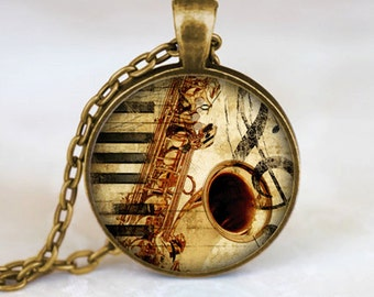 Saxophone Pendant, Musical Instrument Necklace, Music Lovers Jewelry, Bronze (PD0532)